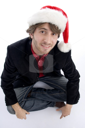 Blonde model with christmas hat stock photo, Blonde model with christmas hat on an isolated white background by Imagery Majestic