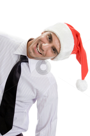 Young businessman tilted stock photo, Young businessman tilted on an isolated background by Imagery Majestic