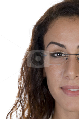 Half face of lady stock photo, Half face of lady on an isolated white background by Imagery Majestic