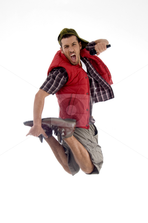 Man jumping and singing in the air stock photo, Man jumping and singing in the air isolated on white background by Imagery Majestic