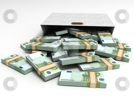 Euro currencies with grey packet stock photo, Euro currencies with grey packet, three dimensional by Imagery Majestic