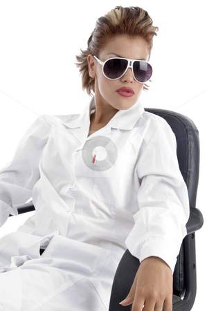 Doctor posing with sunglasses  stock photo, Doctor posing with sunglasses with white background by Imagery Majestic