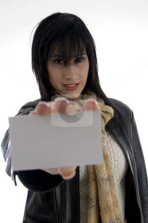 Woman holding identity card stock photo, Woman holding identity card with white background by Imagery Majestic