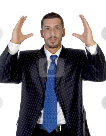 Man with raised hands stock photo, Man with raised hands with white background by Imagery Majestic