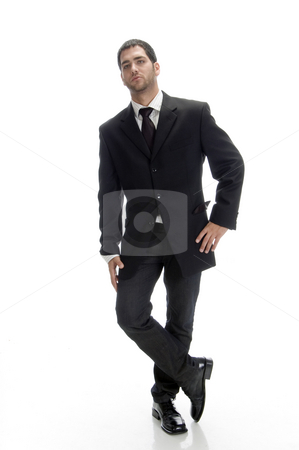 Standing smart businessman stock photo, Standing smart businessman with white background by Imagery Majestic