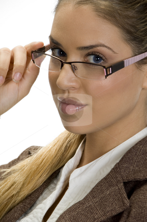 Cute lady posing with her fashionable eyewear stock photo, Portrait of cute lady posing with her fashionable eyewear by Imagery Majestic