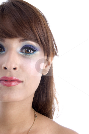 Half length of woman's face stock photo, Half length of woman's face on an isolated white background by Imagery Majestic