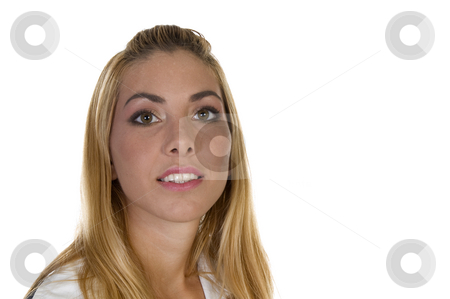 Smiling face of lady stock photo, Smiling face of lady with white background by Imagery Majestic