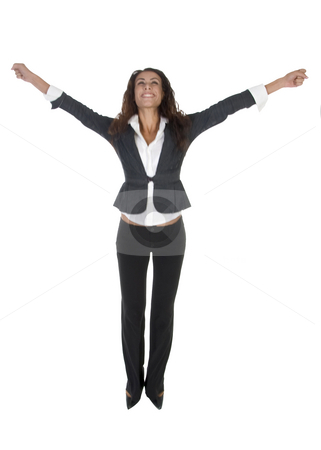 Happy female trying to jump stock photo, Happy female trying to jump  on an isolated background by Imagery Majestic