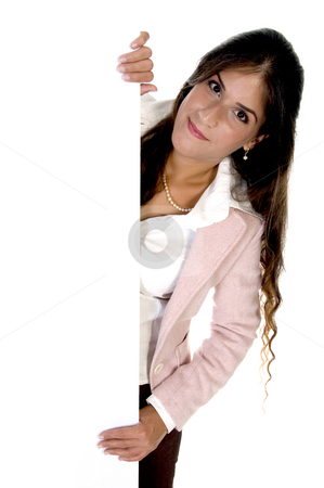 Young woman holding blank board stock photo, Young woman holding blank board isolated on white background by Imagery Majestic