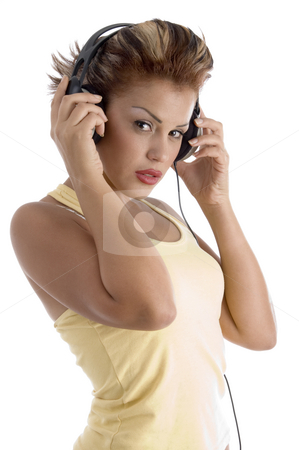 Sexy woman with headphone stock photo, Sexy woman with headphone with white background by Imagery Majestic