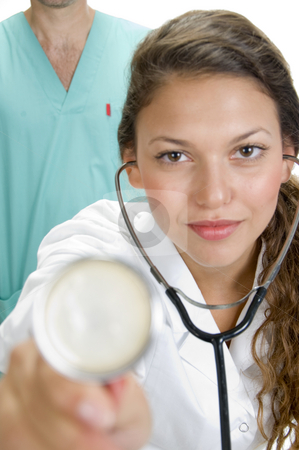 Close up of lady doctor with stethoscope stock photo, Close up of lady doctor with stethoscope by Imagery Majestic