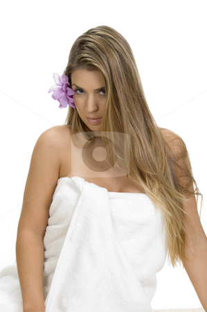 Posing sexy blonde woman in towel stock photo, Posing sexy blonde woman in towel by Imagery Majestic