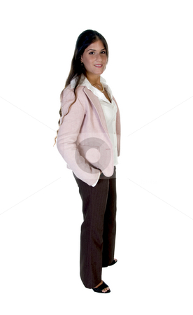 Standing modern woman stock photo, Standing modern woman isolated with white background by Imagery Majestic