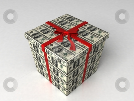 Three dimensional gift wrapped in dollar bills stock photo, Isolated three dimensional gift wrapped in dollar bills by Imagery Majestic