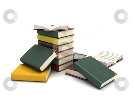 Three dimensional pileup books stock photo, Isolated three dimensional pileup books by Imagery Majestic