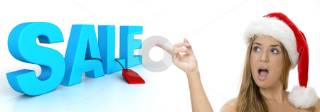 Sexy lady pointing to sale 3d text stock photo, Sexy lady pointing to sale 3d text on an isolated white background by Imagery Majestic