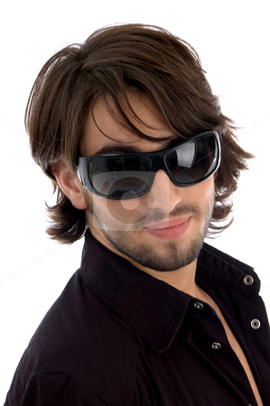 Handsome model with sunglasses stock photo, Handsome model with sunglasses against white background by Imagery Majestic