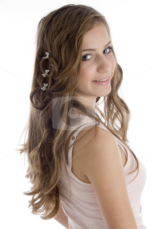 Side pose of young girl stock photo, Side pose of young girl  on an isolated white background by Imagery Majestic
