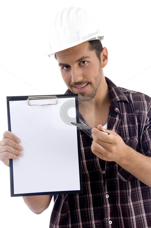 Intelligent architect with note pad stock photo, Intelligent architect with note pad on white background by Imagery Majestic