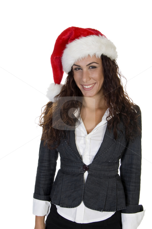 Lady wearing christmas cap stock photo, Lady wearing christmas cap with white background by Imagery Majestic