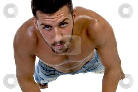 Handsome fellow at workout stock photo, Handsome fellow at workout against white background by Imagery Majestic