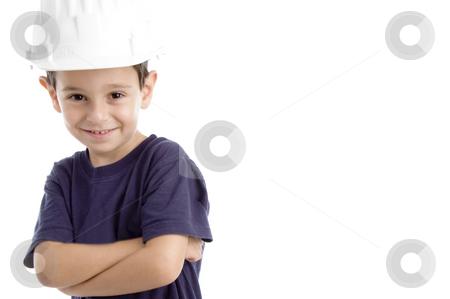 Little architect wearing hardhat stock photo, Little architect wearing hardhat isolated on white background by Imagery Majestic