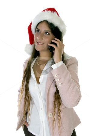 Female talking on cellphone stock photo, Female talking on cellphone on an isolated  background by Imagery Majestic