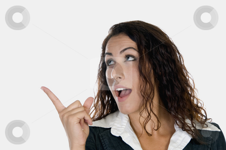 Lady giving warning stock photo, Lady giving warning on an isolated white background by Imagery Majestic