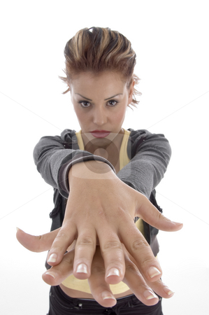 Glamorous woman making hand gesture stock photo, Glamorous woman making hand gesture on an isolated background by Imagery Majestic
