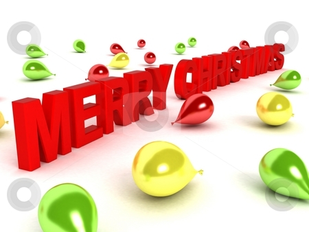 Merry christmas text and balloons stock photo, Isolated three dimensional merry christmas text and balloons by Imagery Majestic