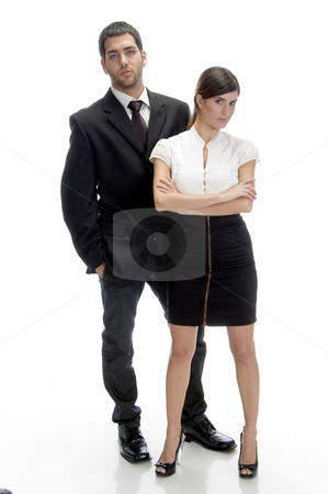 Full pose of young couple stock photo, Full pose of young couple on an isolated white background by Imagery Majestic