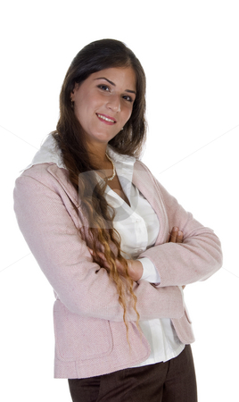 Happy young businesswoman stock photo, Happy young businesswoman with white background by Imagery Majestic