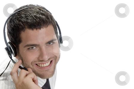 Caucasian man wearing headset stock photo, Caucasian man wearing headset with white background by Imagery Majestic