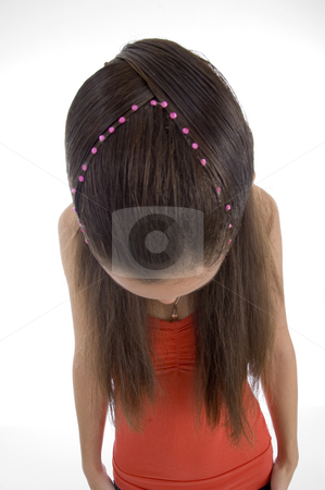 Girl showing her hair style stock photo, Girl showing her hair style on an isolated white background by Imagery Majestic
