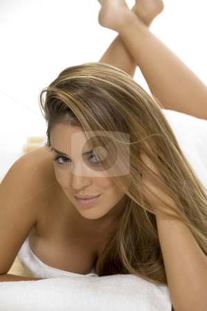 Sexy pose of  laying sensuous woman stock photo, Sexy pose of  laying sensuous woman by Imagery Majestic