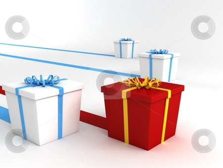 Series of wrapped gifts stock photo, Series of wrapped gifts, 3d illustration by Imagery Majestic