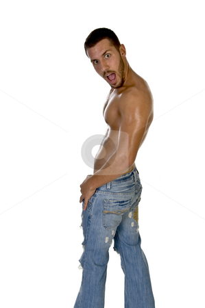 Muscular male posing with mouth open stock photo, Muscular male posing with mouth open on an isolated white background by Imagery Majestic