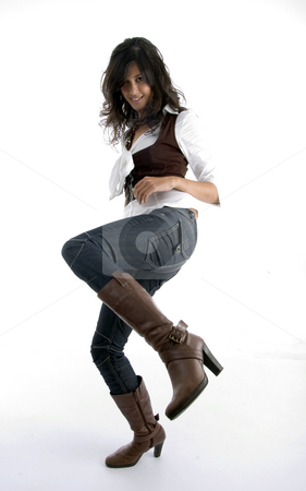Full body pose of pretty female stock photo, Full body pose of pretty female with white background by Imagery Majestic