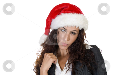 Lady posing in cap stock photo, Lady posing in cap on an isolated white background by Imagery Majestic