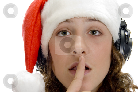 Woman instructing to keep silent stock photo, Woman instructing to keep silent on an isolated background by Imagery Majestic