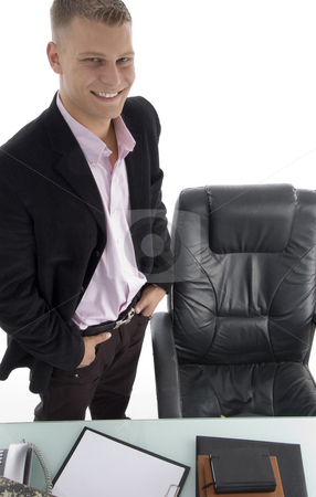Smiling manager in office stock photo, Smiling manager in office with white background by Imagery Majestic