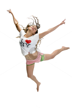 Woman in flying pose stock photo, Woman in flying pose with white background by Imagery Majestic