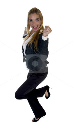 Businesswoman clenching fist stock photo, Businesswoman clenching fist isolated with white background by Imagery Majestic