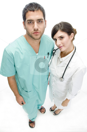 Nurse standing with patient stock photo, Nurse standing with patient on an isolated white background by Imagery Majestic