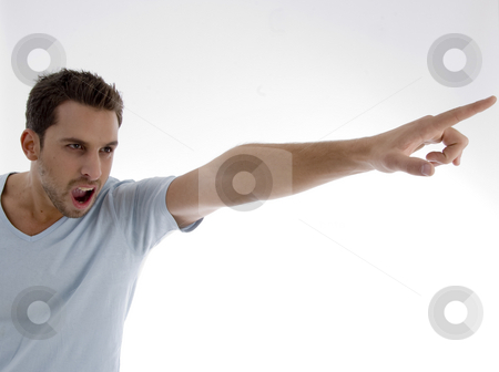 Portrait of handsome young man stock photo, Young man yelling on an isolated white backgound by Imagery Majestic