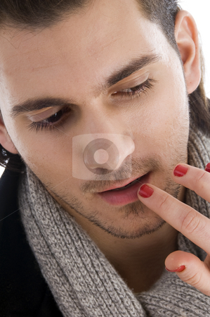 Lips of man being touched by female hands stock photo, Lips of man being touched by female hands with white background by Imagery Majestic