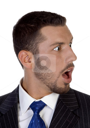 Shocked young executive stock photo, Shocked young executive on an isolated white  background by Imagery Majestic