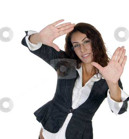 Woman making pose with palm stock photo, Woman making pose with palm with white background by Imagery Majestic