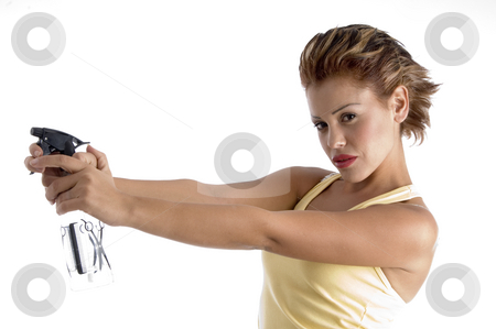 Woman with spray bottle stock photo, Woman with spray bottle with white background by Imagery Majestic